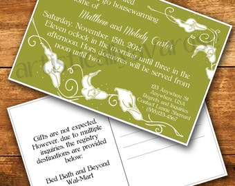 Lilies Party Invitation Postcard - Printable PDF