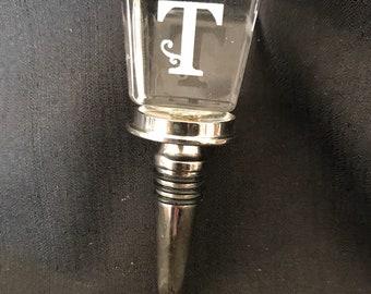 Vintage Bottle Stopper Monogram Letter T Vintage Bar Item