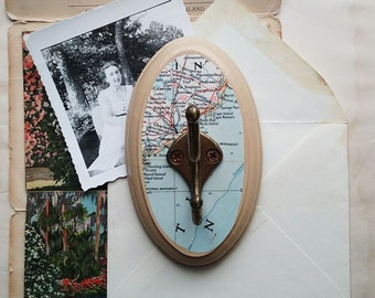Vintage Map Wall Hook, Wall Hook Made From a Vintage Map of Charleston, South Carolina, Rustic Key Hook, Coat Hook, Clothes Hanger
