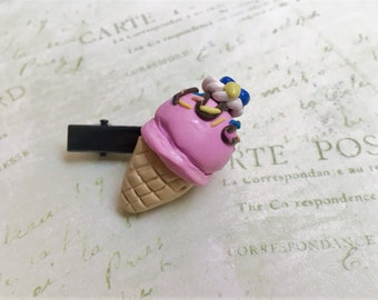 Blueberry Ice Cream Hair Clip, Handmade Polymer Clay Accessories/Jewelry, Mother's Day Gift, Unique Gift