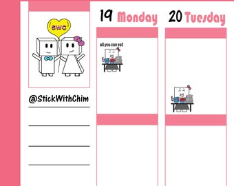 Bow Robot Girl Buffet All You Can Eat   Cute Planner Stickers   Perfect for planners and calendars   R2006