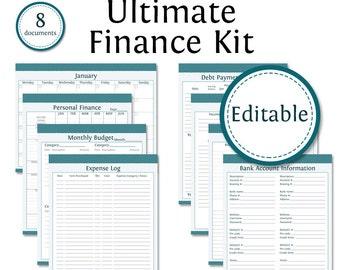 Ultimate Finance Kit - Fillable - Instant Download - Printable PDF - Bundled Kit (8 documents) - Finance & Budget
