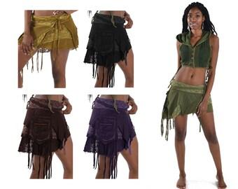 Sale! STEAMPUNK SKIRT, Elf skirt, pixie skirt, gypsie skirt, fairy skirt, ragged skirt, festival skirt, Mfsksa