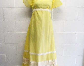 Vintage 70s Yellow MAXI Dress Polka Dot / Lace / 70s Dress / Yellow Dress Retro Yellow Dress Easter Dress