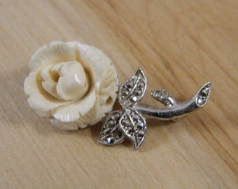 Vintage Carved Bone and Marcasite Cream Rose Flower Pin, Vintage Rose Brooch, Vintage Flower Brooch, Silver Flower Pin, Art Noveau Brooch