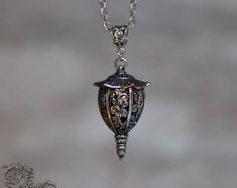 """Necklace """" Lanterne """" - silver version - Asian , Fantasy , Spiritual"""