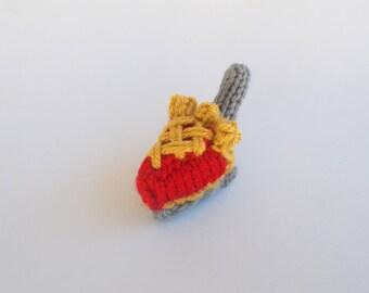 Mini Cherry Lattice Pie on Server Knitted Stuffed Ornament - Miniature Pie - Stocking Stuffer - Food Ornament - Dessert Gift Idea