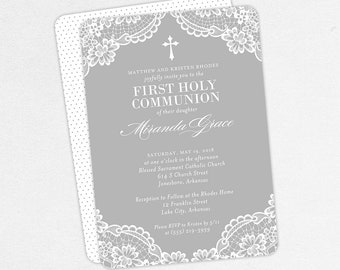 Lace First Communion Invitations, Gray First Communion Invitations, Girl First Communion Invitations, Printable First Communion Invitation