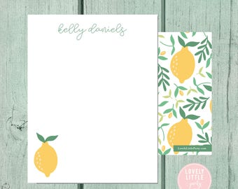 Lemon Stationery, Kids Stationery, Adult Stationery, Citrus Personalized Notecards, notecards, Girls Birthday Gift - Lovely Little Party