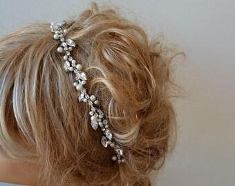Bridal Headband, Rhinestone and Pearl Tiara, Wedding Crown, Crystal Tiara, Bridal Tiaras and Crowns, Bridal Hair, Wedding hair Accessory