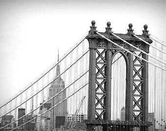 New York City Print, Manhattan Bridge, Empire State, Black White NY Print, Brooklyn Art, NYC Wall Art
