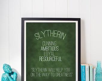 Harry Potter Slytherin Hogwarts House Pride Trait Motto Print
