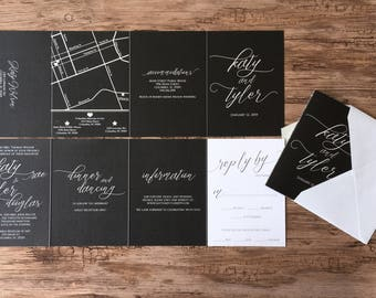 Modern Black and White Calligraphy Wedding Invitation Suite · All in One Accordion Wedding Invitation · Classic (213)