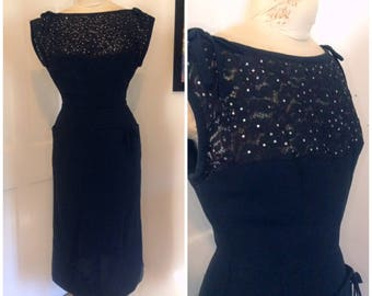 Sixties vintage wiggle dress, black dress, size extra small, XS, 2, 4, dress with pockets, rhinestones, formal dress