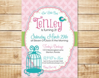 PRINTED Little Bird 5x7 Birthday Invitation with envelope in pink, green, teal with a cute bird and birdcage