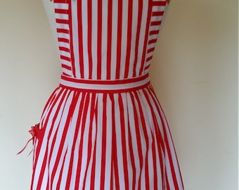 Candy striper apron red and white stripes with bows great for kitchen teas bridal showers cotton fabric. Australian handmade