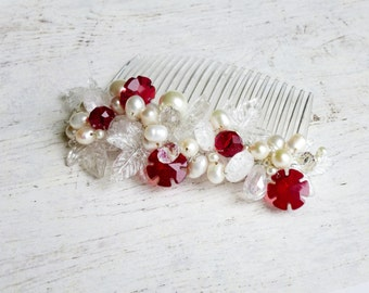 Winter bridal hair comb, Snowflake hair piece, Red crystal hair comb, Freshwater pearl hair comb, Winter wedding, Christmas hairpiece, Red