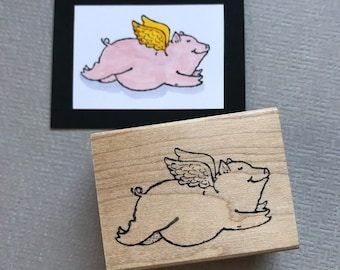 Yes, Pigs Can Fly Rubber Stamp