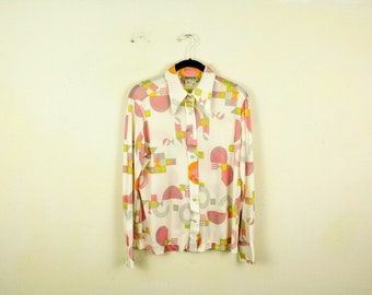 Vintage 1970s Poly Print Abstract Dot Mixed Print Button Down Shirt / Blouse / Joyce / Nylon / 18 / Circles / Abstract / Pink / White / Dots