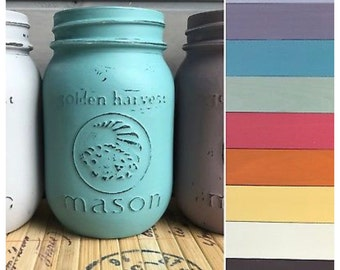 Hand painted pint mason jars