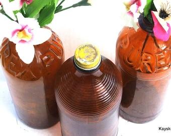 Purex Brown Bleach Bottles, Vintage Amber Purex Bottles, 1940 Quart Bottles, Home Decor, Kitchen Decor