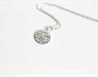 Silver Pendant Necklace, Silver Disc Necklace, Sterling Silver Necklace, Charm Necklace, Chain Necklace, Pendant Necklace, Silver Necklace,
