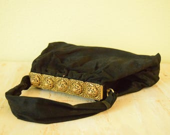 1940's Velour Pocket Book with Brass Filigree Clutch Hardware