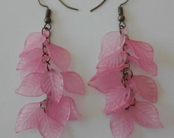 Dangle earrings dangling clusters-bronze - pink - 7.5 cm