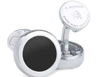 Plain Black Enamel Button Cover Cufflinks