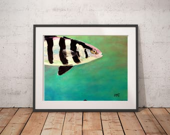 "Fish art print, Green painting print, Print gift for him, Father print gift, Brother art gift, Man cave wall art gift, ""Rudderfish"""