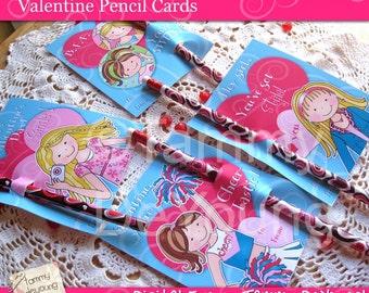 Girls Valentine Cards for kids* DIY Printable Treat Holders for Best Friends Girls, tweens, cheerleader, personalization extra