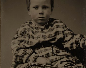 Paper Framed Tintype of a Young Child in a Wonderful Plaid Outfit