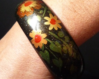 Vintage 1980s hand painted wooden Bangle Bracelet