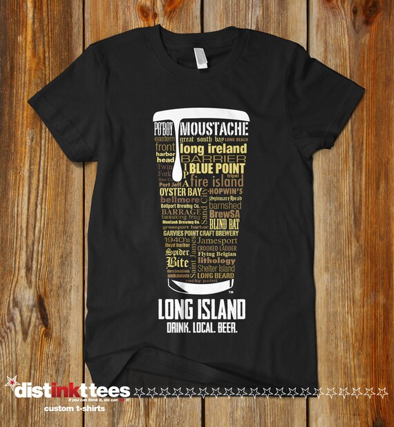 Long island ny craft beer state breweries typography t shirt for Craft brewery t shirts