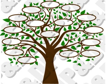 Family Tree 16 SVG, DXF Digital cut file for cricut or Silhouette svg, dxf - 16 Circles for Family Members