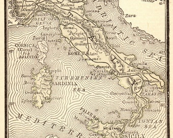 1886 Antique ITALY Map of Italy Rare MINIATURE Gallery Wall Art Birthday Wedding Gift for Traveler Map Collector Gift Anniversary 7902