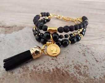 Multi-row bead bracelet Multibeach bracelet in black and gold--Boho pendant tassel