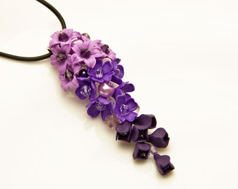 Purple Necklaces Purple Pendant Purple pink flowers jewelry Floral dark purple necklace Violet necklace Purple jewelry Purple wedding