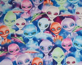 Amusing Aliens Print on Blue Pure Cotton Fabric--By the Yard
