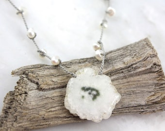 Solar Quartz Slice and Knotted Pearl Necklace