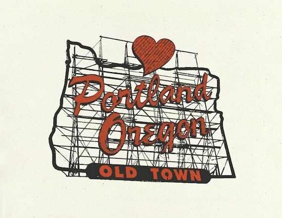Portland Art // Print // Wall art // Oregon Art // Collage // Portland Oregon Sign - 8.5x11 & 11x14