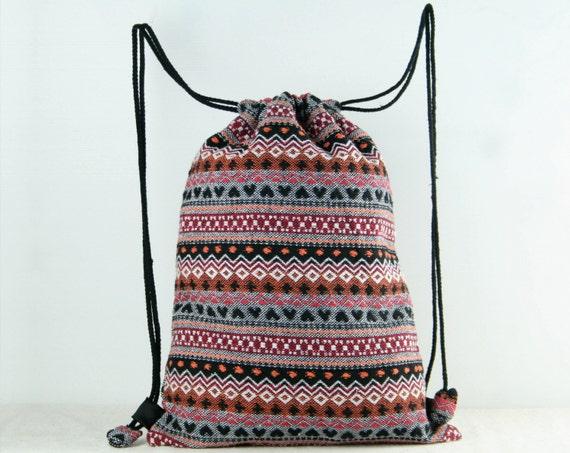 Tribal Woven Drawstring Bag Backpack Gym Bag Cloth Bag Shoe