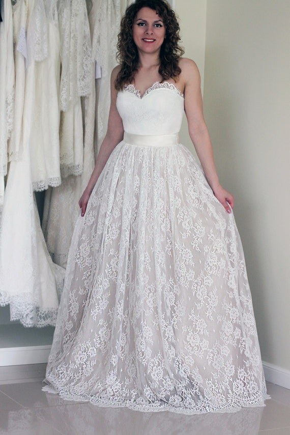 Chantilly Lace and Tulle Skirt A-line Wedding Skirt