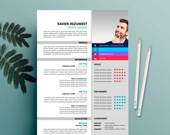 Modern Resume, Cv For Ms Word,  Instant Digital Download cv, curricular synthesis, Professional and Creative Resume,  CV Template for Word