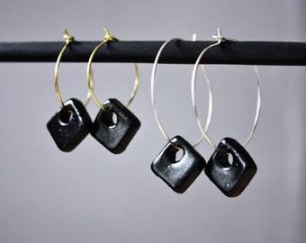 Square Charm Hoop Earrings