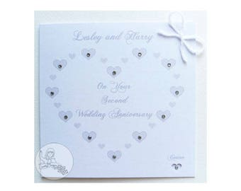 Handmade Personalised Second Wedding Anniversary Card 2nd Cotton Gift Names Couple