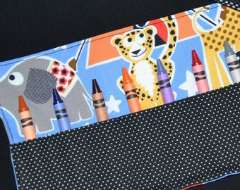 Circus Crayon Roll PARTY FAVOR - Big Top Circus Birthday - Crayon Holder - Crayon Keeper - Toddler Gift - Michael Miller Big Top