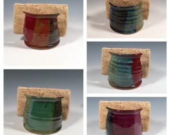 Made to Order Pottery Sponge Holder - Kitchen or Bath Organization -  Ocean Green - ceramics - pottery - stoneware