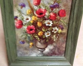 """Vintage wood framed flower paper picture green frame Colorful flowers 9"""" by 11"""", vintage framed flower picture, hone decor, flower picture"""