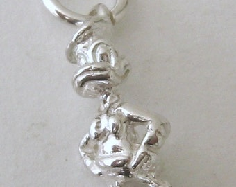 Genuine SOLID 925 STERLING SILVER 3D Donald Duck Animal charm/pendant